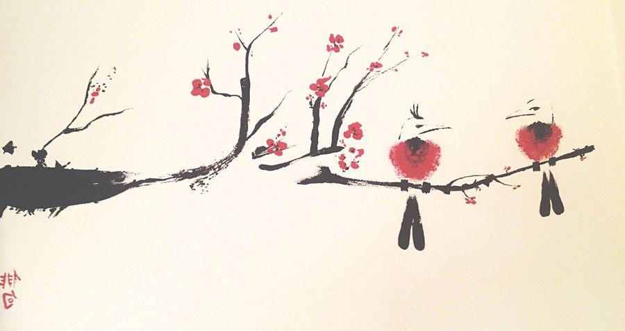 Sumi-e Painting Japanese  Art Design Interior Design Ink Japan Beautiful Wall