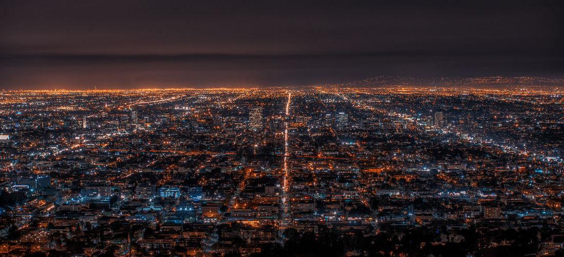 Los Angeles California California Dreamin Aerial View Los Angeles, California Landscape La Illuminated City Cityscape Urban Skyline Illuminated Skyscraper Modern Aerial View Business Finance And Industry Sky Tranquil Scene Light Trail High Street Long Exposure Scenics