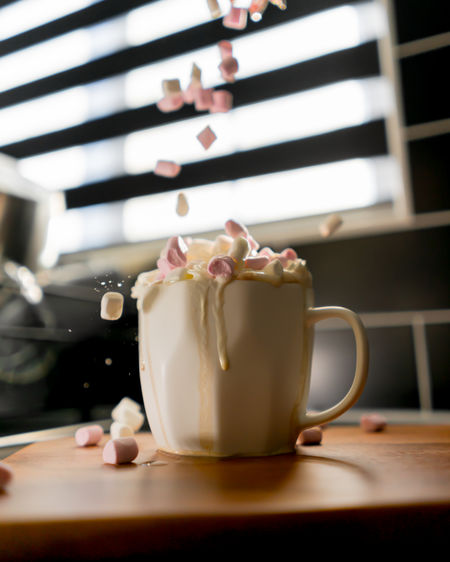 Food And Drink Table Cup Indoors  Mug Drink Freshness Refreshment Close-up Coffee Cup Still Life Coffee No People Food Focus On Foreground Coffee - Drink Plant Flower Flowering Plant Selective Focus Crockery Hot Chocolate Marshmallows Cream EyeEm Best Shots