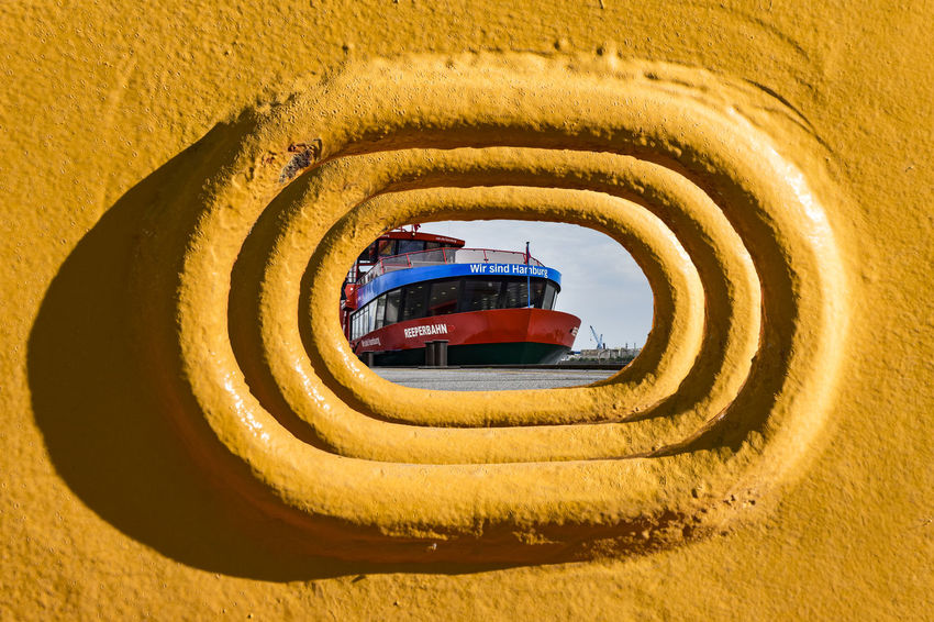 We are Hamburg ;-))) Architecture Boat Wall Built Structure Day Elbe River Ferryboat Hamburg Harbour Nature No People Outdoors Ship Sky Yellow