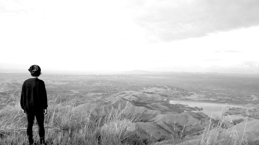 Monochrome Photography Black & White Rear View Standing Nature Real People One Person Outdoors Landscape Full Length Tranquility Beauty In Nature Woman Rural Scene Far Away From The City Overlooking Eyeem Philippines IPhone IMography Who What Where My Year My View