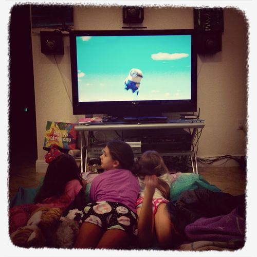 Watching Despicable Me Slumber Party