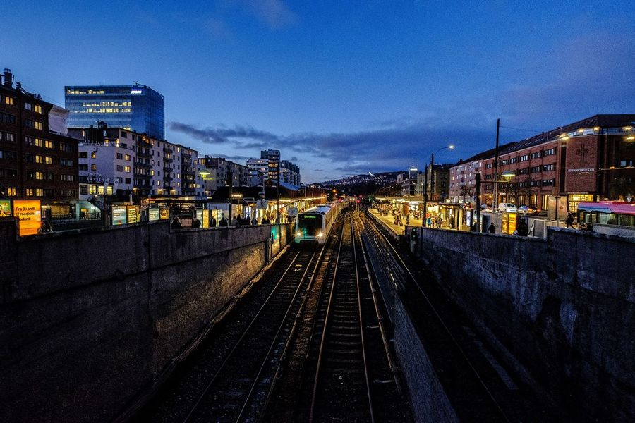 Majorstuen metro 🚇 Station . Ruter Railroad Track Transportation Sporveien Fujifilm FUJIFILMXT2Xf10-24mm Oslo Norway Illuminated