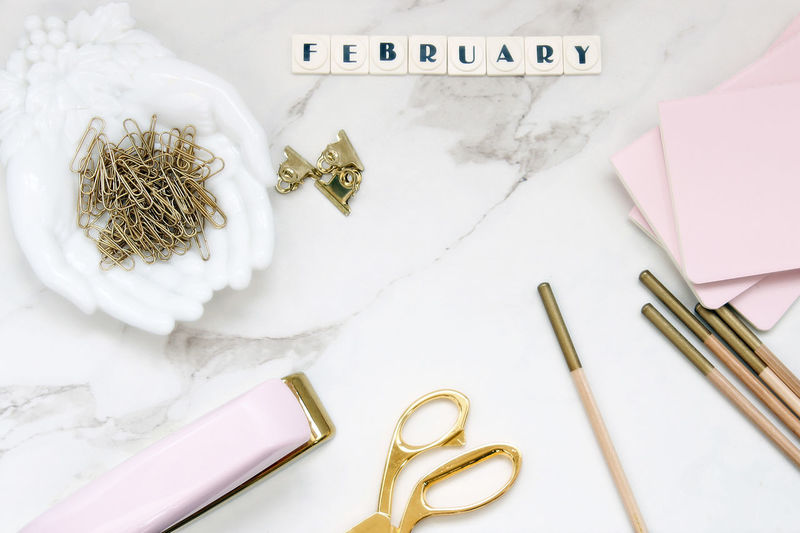 Chic, pink desktop Branding Photography Chic Desktop February Gold Gold Colored Indoors  Marble Table Mock Up No People Office Office Supplies Over Head Pink Pink Color Room For Copy Styled Template Work Space