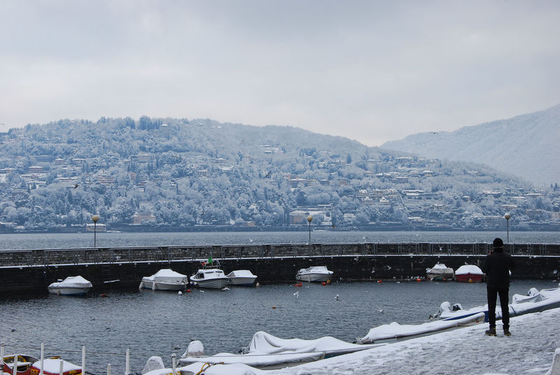 Snowy and windy day but... how beautiful! - Como, Lombardy, Italy. Beauty In Nature Cold Cold Temperature Como Day Frozen Italia Italy Lake Lario Lombardia Lombardy Nature One Person Outdoors Sky Snow Water Winter