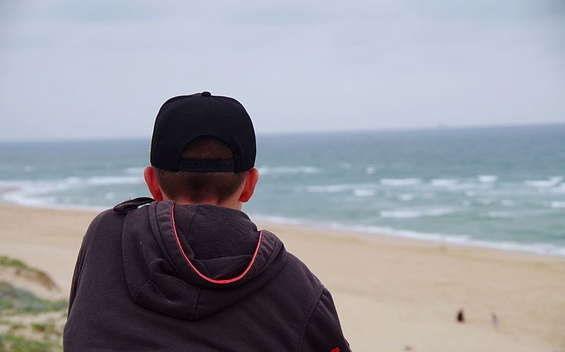 Biarritz - France Boy Horizon Over Water Beach Sea Real People One Person Hooded Shirt Water Standing Beauty In Nature Outdoors Sand Vacations Ocean