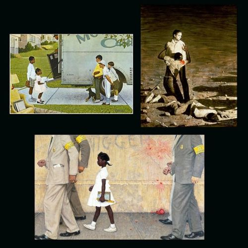 "NormanRockwell is my favorite painter/illustrator and these are some of his works that pertained to the American Civil Rights movement: ""New Kids in the Neighborhood"" (1967), ""Murder in Mississippi - Southern Injustice"" (1965), and ""The Problem We All Live With"" (1964) Thesouth Integration Segregation  Race Riots CivilRights Justice SocialInjustice Politics BlackHistoryMonth AmericanHistory RubyBridges Painter Illustrator"