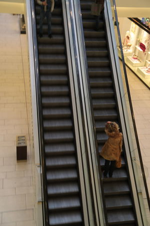 Built Structure Day Escalator Indoors  Shopping Mall The Way Up Trans Upstairs
