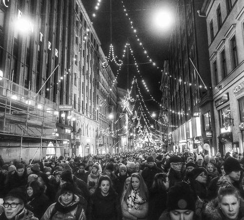 Followers of Santa - Helsinki, Finland - 22 November 2015 Parade Crowd Xmas Time Suomi Nordic Finland G7x Helsinki Snapseed November Night November2015 Canon G7X Helsinki By Night Blackandwhite Bright Night Full Moon Walking Around Sunday Sundaynight