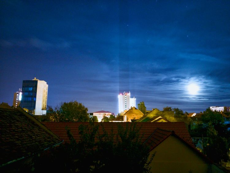 Brighter image , same view Architecture Night Sky City Building Exterior Built Structure Low Angle View Tourism Horizontal No People Antenna - Aerial Outdoors Tree Nature Beauty In Nature EyeEm Gallery Moonlight Moon Shots Moon EyeEm Best Shots EyeEmBestPics Cloud - Sky Sibiu Romania Cityscape Architecture