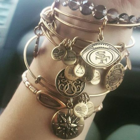 A lil obsessed Alexandani Collection Needmorenow Newbracelets Bangles 49ers Clover Lasvegas Pathoflife Ohm Madeinusa MADEINTHEUSA  Gold Jewelry Copper  Energy Love