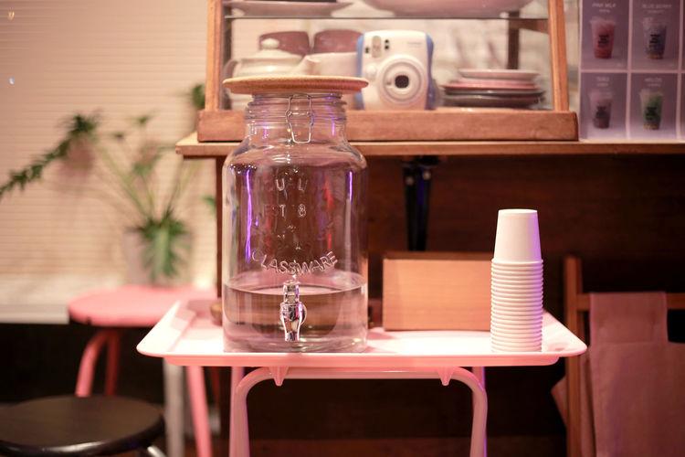 Glass jar on table