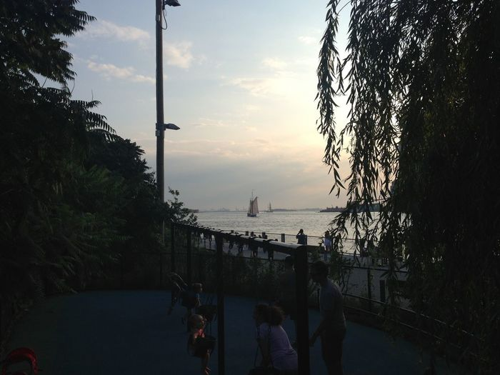 Boat Hudson River Brooklyn Bridge Park Playground Swings Nature Citylife Summer Evening Statue Of Liberty Nyc Water