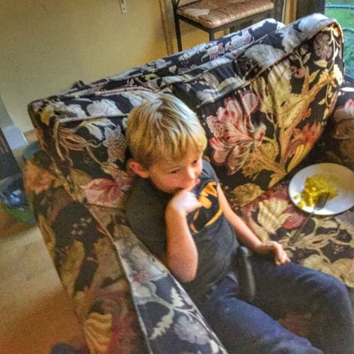 Sam, watching The Cat in the Hat, disdains a plate of scrambled eggs. #littleboy #elementaryage #blondhair #colorful #black #yellow #armchair #food #eggs #fromabove Little Blond Boy Little Boy Elementary Age Blond Hair Colorful Sitting Black Yellow Armchair Food Eggs From Above  Elevated View Elfin High Angle View Flowery Chintz Warmth Casual Indoors  Interior Design Smiling Childhood Home Cute