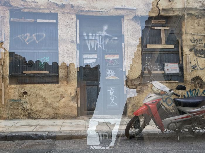 City movements Architecture Built Structure Text Day Building Exterior No People Outdoors Abstract Transport Walls Windows Transparent Douple Exposure Street Moped Athens In The Street Sky Looking Out Movement Your Ticket To Europe The Week On EyeEm Done That. Rethink Things Stories From The City Adventures In The City