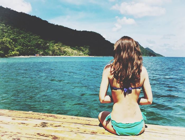Water Sea Vacations Leisure Activity Lifestyles One Person Bikini Mountain Outdoors Summer Vietnam Relaxing Happiness Nature Beauty In Nature
