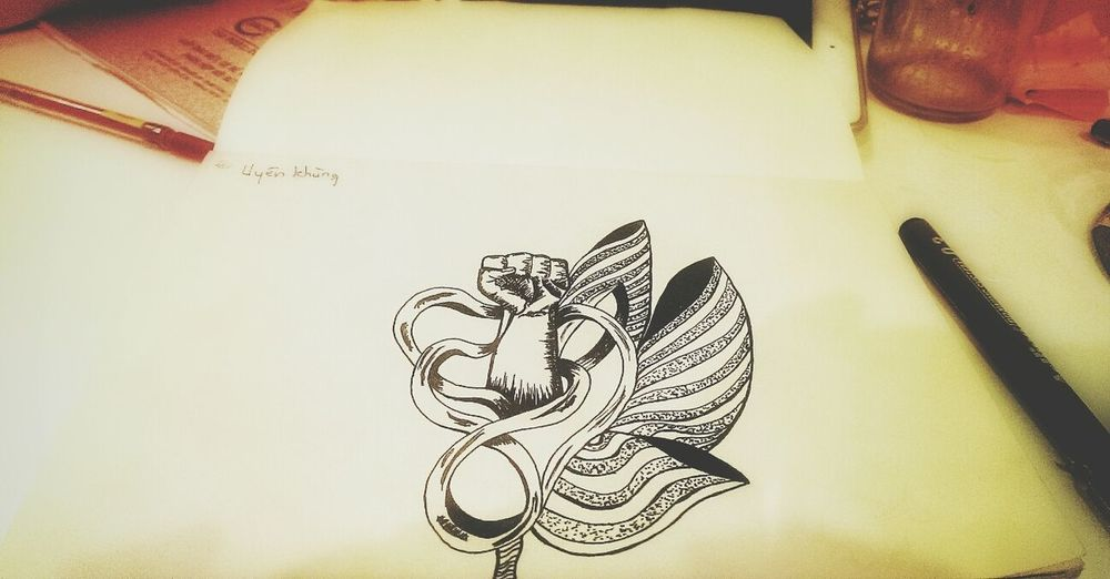 """Fist, ribbon and lotus"", the first tattoo I drew :3 The Tree Academy Art, Drawing, Creativity Enjoying Life Sketch"
