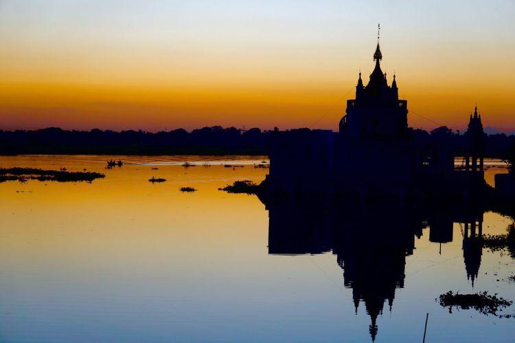 Sunset X Pagoda X Reflection: Mandalay, unexpected amazing place I planned as a transit only. Needa spend some time here.. Sunset Reflection Pagoda Mandalay Ubeinbridge Orange Color