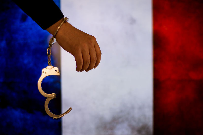 France Flag French Bribe Murder Prisoner Escape Handcuffs  Justice Law Prison Thief Justice - Concept Legal Trial Legal System Handcuffs  Criminal Prison Cell Legal Occupation