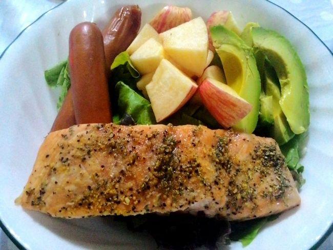 Salad Salmon Dietfood Foodgasm Foodporn Foodphotography Foodpornography Apple Spring Into Spring