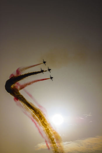 Turkish acrobatic aviation squadron flying over Izmir (Turkey) Backlight Formation Flying Freedom Turkey Acrobacy Acrobatic Airplane Airshow Anniversary Flying Fumes Military Airplane Motion No People Performance Recurrence Skill  Sky Speed Sun Sunset Teamwork Turkish