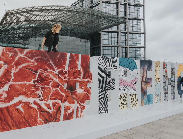 #FREIHEITBERLIN Hauptbahnhof Sitting Architecture Art Lifestyles One Person Outdoors Real People Young Women