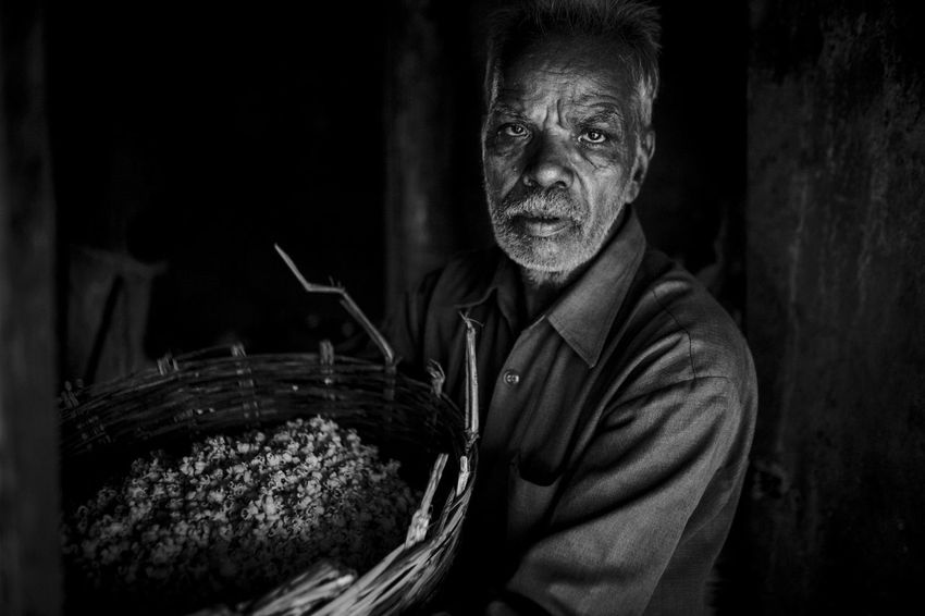 Travel portrait taken in Ujjain, India Black And White Fine Art Photography India India Travel Looking At Camera Natural Light Portrait One Person Portrait Real People Senior Adult Travel Travel Photography Ujjain Village