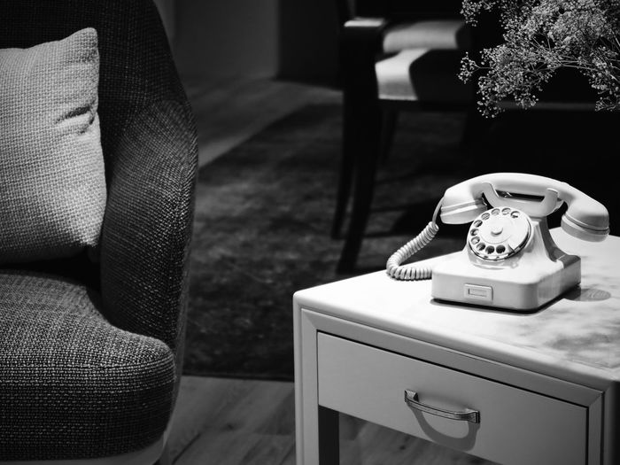 Decoration Interior Style Interior Interior Design Home Interior Home Black & White Black And White Blackandwhite Old-fashioned Retro Styled Indoors  Telephone Table Rotary Phone Communication Telephone Receiver Technology Close-up No People Day