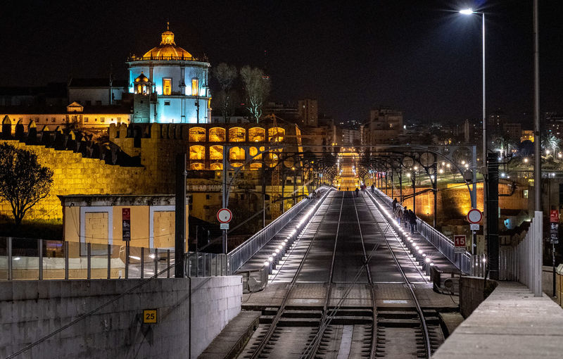 Illuminated Night Architecture Built Structure Building Exterior City Transportation Direction Street Light The Way Forward Lighting Equipment Rail Transportation No People Railroad Track Railing Nature Street Outdoors Track Travel