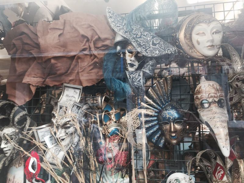 Camera: iPhone 6 Art And Craft Retail  For Sale Art Large Group Of Objects Human Representation Store Hanging Variation Retail Display Shop Creativity Man Made Object Choice Abundance Full Frame Mask - Disguise Street Market Architectural Feature No People Venice Mask