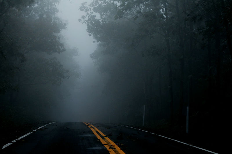 The road with darkness and haze