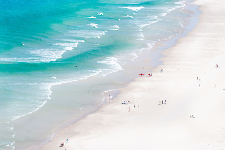 Aerial view Byron bay Australia. Australia Byron Bay Lighthouse Aerial View Beach Byron Sand Sunbathing Surfing Waves, Ocean, Nature