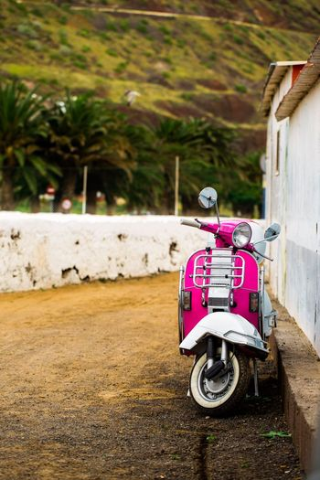 Transportation Outdoors No People Land Vehicle Mode Of Transport Day Travel Destinations Chiringuito Tenerife Pink Color Scooter Piaggio Vespa Vintage