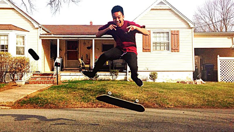 """""""Airborne. 4-13-15"""" A picture taken during a great skate sesh. In this photo, my friend Daniel Bautista. His Twitter/IG: @thatskaterdan Hanging Out Skateboarding Kickflip Smiling Warm Daniel BAUTISTA  Spring Time Airbourne Photography"""