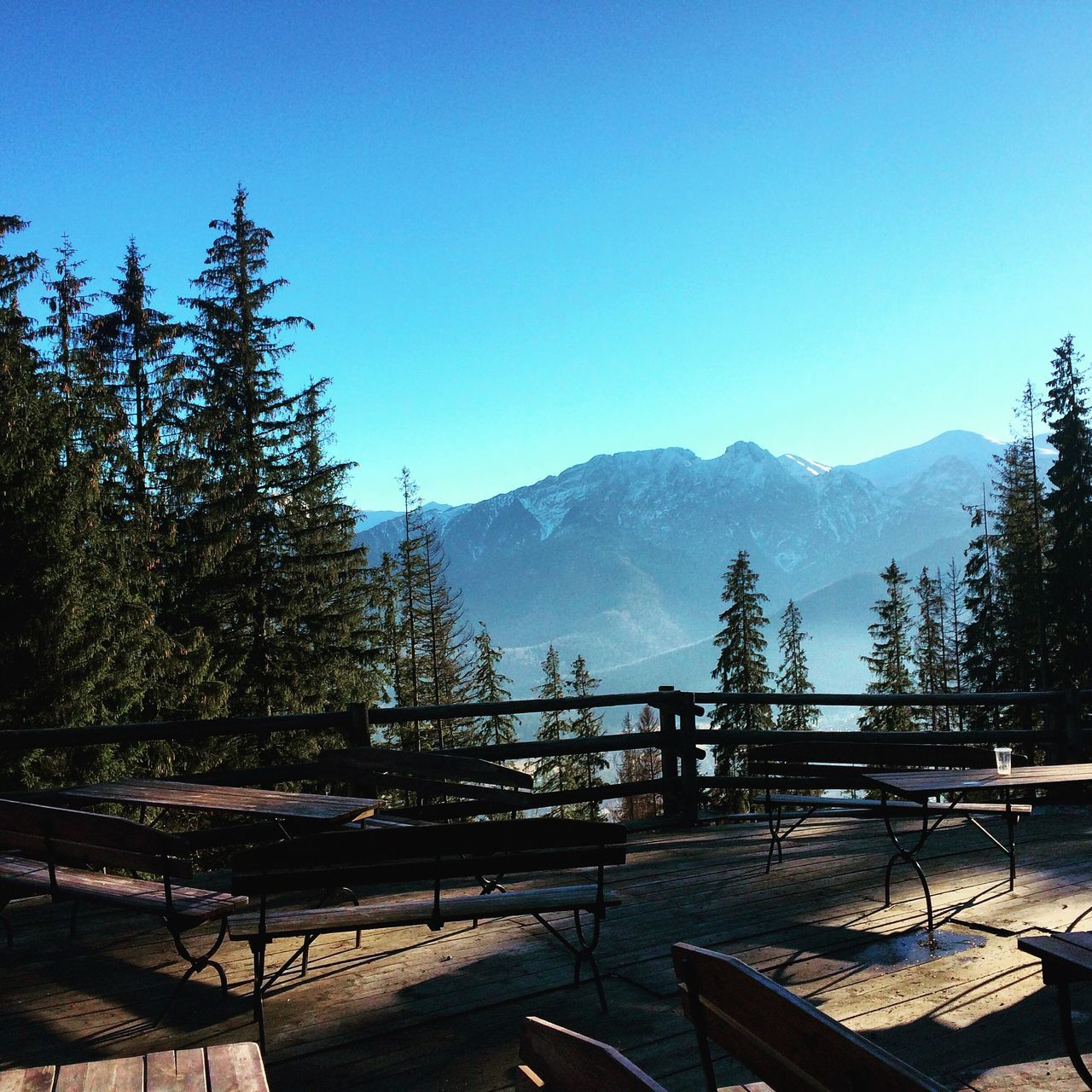 Empty Wooden Benches By Trees And Mountains Against Sky