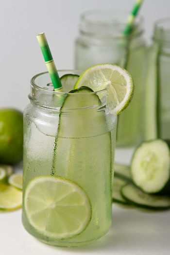 Close-up of green drink