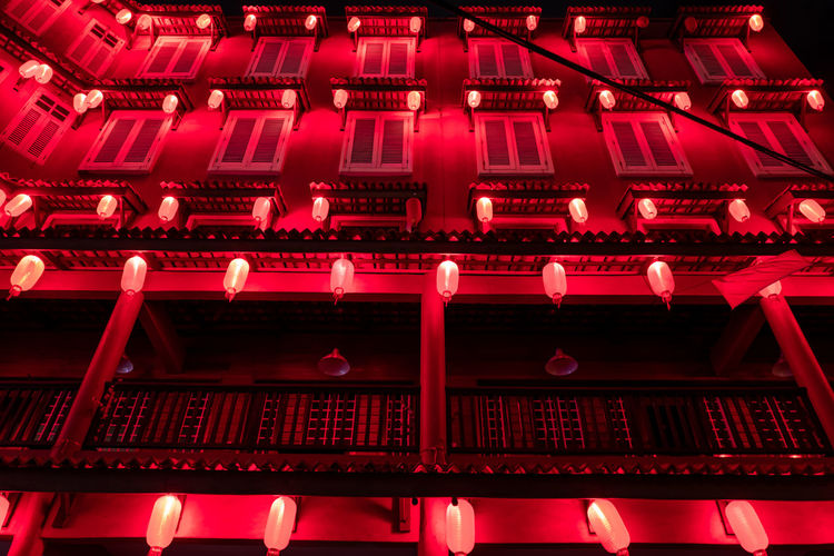 Malacca Red No People Architecture Night Illuminated Building Exterior Built Structure Full Frame Large Group Of Objects Low Angle View Lighting Equipment Technology Building Communication Backgrounds Pink Color In A Row Arts Culture And Entertainment Repetition Nightlife