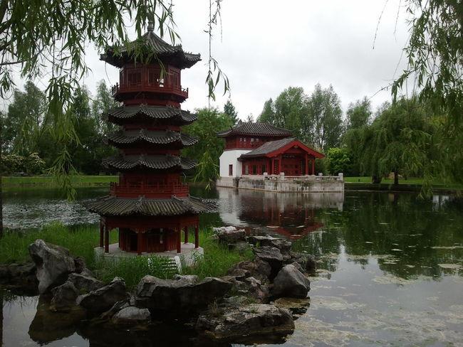 Garden Chinese Garden Gärten Der Welt Architecture Pagode Water Pond Stones Flowers Trees Plants Day Overcast Sky