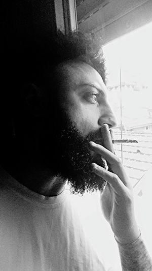 Rain Rainy Day Bad Day Smoke to the Window Cigarette  Pioggia Modena Giornataccia Beard Beardman Barba Barbuto .Fuori Piove , Dentro Forse