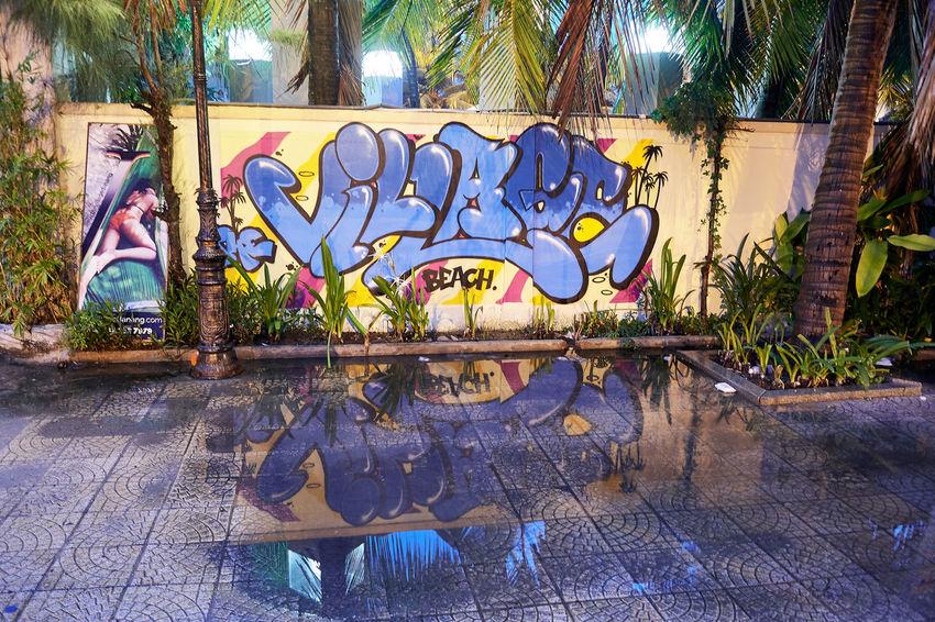 EyeEmNewHere Graffiti Reflection Vietnam Danang Danangbeach Illuminated Streetart Streetphotography