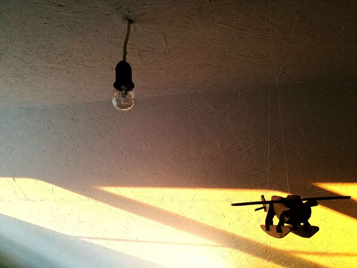 Shadow No People Day Plane Toy Hanging Light And Shadow Lightbulb Lamp Cealing Warm Colors Minimalism Contrast Wooden Toy Sunshine Sunlight Simplicity Minimalobsession Morning Light Details Fly High☁☁☁ Paint The Town Yellow
