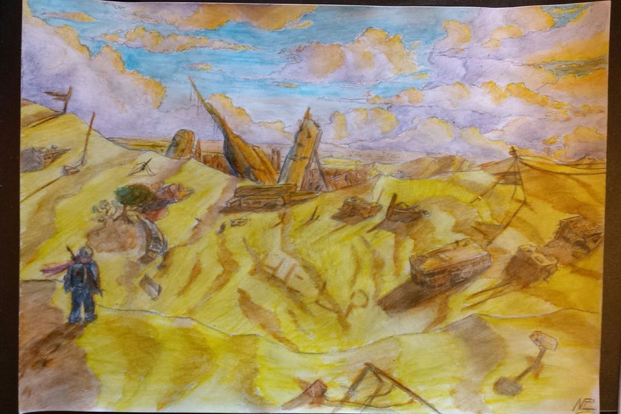 Drawing Alone Ruines Sand Desert Sky And Clouds Landscape Nature Clouds And Sky Zaap'sdraws