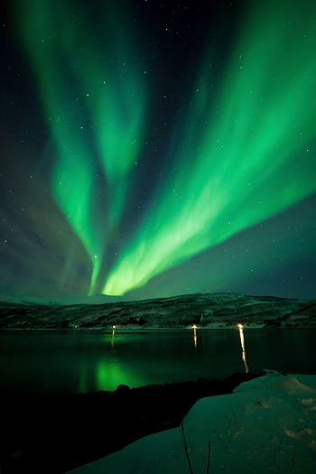 Aurora Portrait Green Color Travel Tromsø Norway🇳🇴 Night Water Star - Space Space Astronomy Green Color Beauty In Nature Sky Scenics - Nature Aurora Polaris Dramatic Sky Sea Reflection Nature Travel Destinations Ice Space And Astronomy
