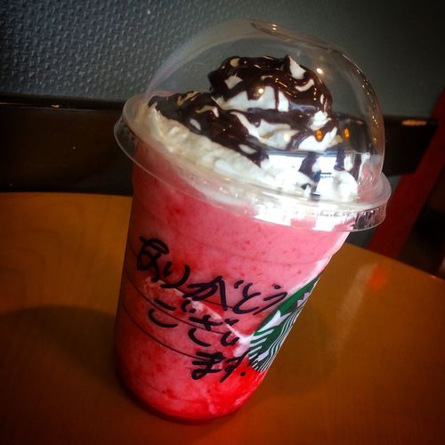 strawberry delight frappuccino,it's good taste! スタバ Starbucks Cafe Time