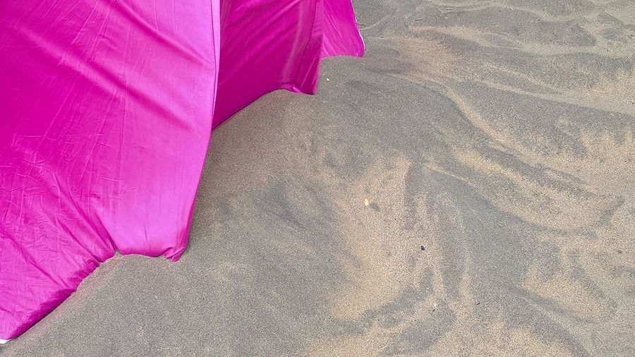 Beach Contrast Contrasting Colors Nature Neon Pink No People Outdoors Parasol Pink Color Relaxing Moments Sand Sand Dune Shadow Summer Sun Wind