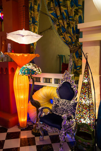Colorful lights Art Beautiful Beauty In Nature Bright Color Colorful Decoration Design Light Lights Modeling Lights Scenic Spot Indoors  Seat Chair No People Multi Colored Table Yellow Absence Plant Lighting Equipment Flowering Plant Flower Variation Representation Vase Art And Craft Arrangement Choice Home Interior Ornate Electric Lamp Floral Pattern