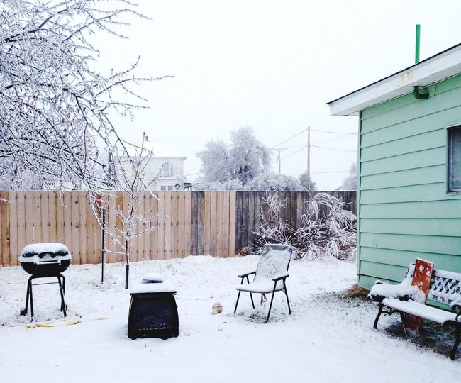 Snow covered backyard