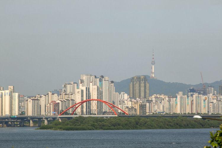 Bridge By Han River Against Clear Sky In City