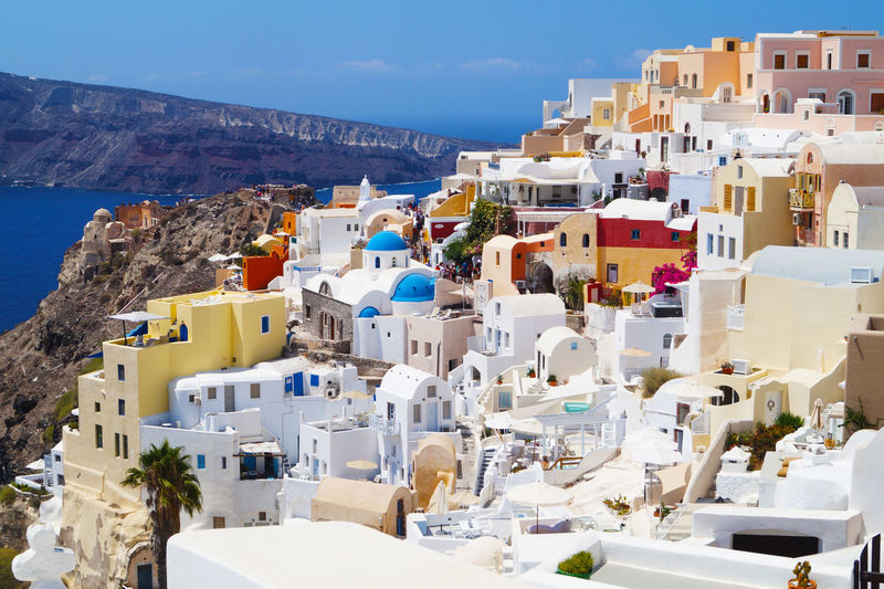 High Angle View Of Buildings In Santorini