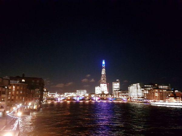 River View London Night Illuminated Cityscape Architecture City Urban Skyline Winter